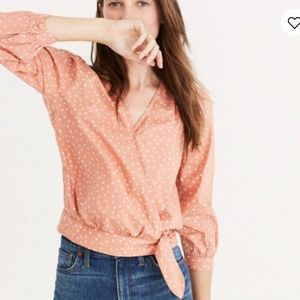 Madewell pink wrap printed top